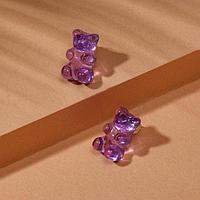 Серьги акрил 'Мармеладные мишки' гвоздики, цвет фиолетовый