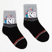 Носки детские, цвет чёрный/светло-серый меланж, размер 16-18