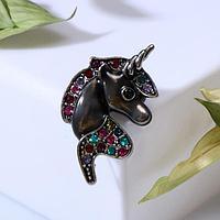 Брошь 'Единорог', разноцветный в чернёном серебре