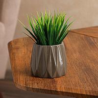 Кашпо 'Оригами', коричнево-серое, керамика, 0.25 л