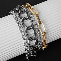 Браслет 'Цепь' переплетения, многоярусный, цвет золотисто-серебряный в сером металле,19см