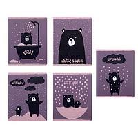 Тетрадь 48 листов в клетку 'Романтичный мишка', обложка мелованный картон, блок офсет, МИКС (комплект из 3