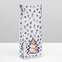 Пакет бумажный фасовочный 'Новогодний' с окном, серебро-синий,10 х 6 х 26 см (комплект из 10 шт.)