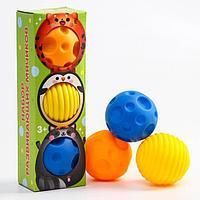 Подарочный набор массажных развивающих мячиков 'Малыши-кругляши', 3 шт., цвета/формы МИКС