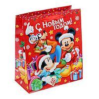 Пакет подарочный ламинированный 'С Новым Годом!', Микки Маус и его друзья, 23 х 27 х 8 см