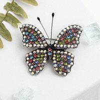 Брошь 'Бабочка' с усиками, цветная в черненом серебре