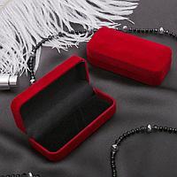 Футляр под зажим для галстука 'Прямоугольник' классика 9*4*2,5, цвет красный, вставка чёрная