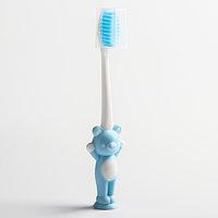 Детская зубная щетка на присоске 'Мишка', с защитным колпачком, цвет МИКС
