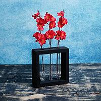 Кашпо деревянное 15x3.5x15 см с 3 колбами 'Рамка Мини', чёрный Дарим Красиво