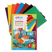 Картон цветн А4 8л 8цв ArtSpace 'Лисичка', немелованный, в папке 290864