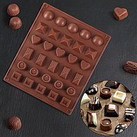 Форма для шоколада Доляна 'Коробка конфет', 27x23x1,5 см, 30 ячеек