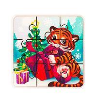 Пазл 'Тигр с подарком'