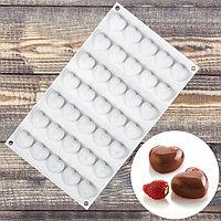Форма для муссовых десертов и выпечки Доляна 'Сердца', 29,7x17,3 см, 35 ячеек (2,5x2,3 см), цвет белый