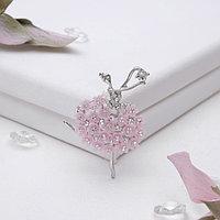 Брошь 'Балерина' женственность, цвет розовый в серебре