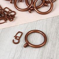 Набор для штор, кольца и крючки, 10 шт, цвет бронзовый