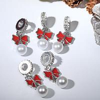 Подвеска новогодняя 'Бантик' с жемчужиной, цвет красно-белый в серебре (комплект из 5 шт.)