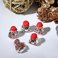 Талисман новогодний 'Дедушка Мороз' в шубе, цвет красно-зелёный в серебре (комплект из 5 шт.)