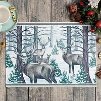 Новогодняя салфетка на стол 'Сказочный лес', 40х29 см