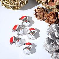 Талисман новогодний 'Дед Мороз' пушистая борода, цвет красно-белый в серебре (комплект из 5 шт.)