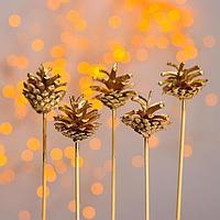 Новогодний декор 'Букет золотых шишек'