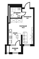 1 комнатная квартира в ЖК Табысты 37.1 м²