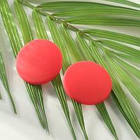 Серьги пластик 'Диск' сплошной, цвет матовый красный, d3,3см