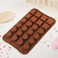 Форма для льда и шоколада Доляна 'Коробка конфет', 23,2x13,8 см, 24 ячейки, цвет шоколадный