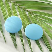 Серьги пластик 'Диск' сплошной, цвет матовый небесно-голубой, d3,3см