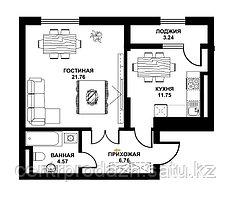 1 комнатная квартира в ЖК Табысты 48.08 м²