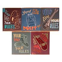 Тетрадь 48 листов в клетку 'Твои правила', обложка мелованный картон, матовая ламинация, выборочный УФ-лак,