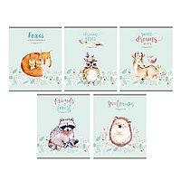 Тетрадь 48 листов клетка 'Акварельные животные', обложка мелованный картон, МИКС (комплект из 10 шт.)