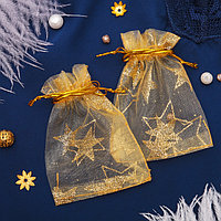 Мешочек подарочный 'Звезды крупные', 7*9, цвет золотой (комплект из 100 шт.)