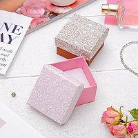 Коробочка подарочная под кольцо 'Винтаж' 5x5 (размер полезной части 4,5х4,5см), цвет МИКС, белая вставка