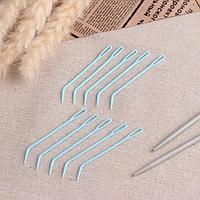 Набор игл для вязания, 7 см, 10 шт, цвет голубой