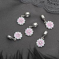 Подвеска 'Цветок с эмалью', цвет бело-розовый в серебре (комплект из 5 шт.)