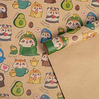 Бумага упаковочная крафтовая 'Милые персонажи', 50 x 70 см (комплект из 10 шт.)
