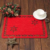 Салфетка сервировочная Доляна 'Снежинка', цв,красный,40*26 см, фетр