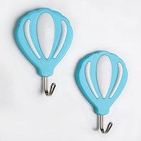 Набор крючков на липучке 'Воздушный шар', 2 шт, цвет МИКС