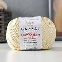 Пряжа 'Baby Cotton XL' 50 хлопок, 50 полиакрил 105м/50гр (3437 св. бежевый) (комплект из 5 шт.)
