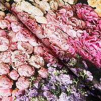 Бумага упаковочная глянцевая 'Букет цветов', 0,5 х 0,7 м (комплект из 10 шт.)