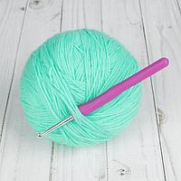 Крючок для вязания, с пластиковой ручкой, d 4 мм, 14 см, цвет фиолетовый