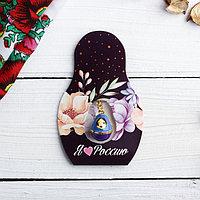 Подвеска-матрёшка на открытке 'Я люблю Россию'