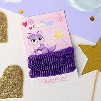 Резинка для волос 'Котёнок' (набор 2 шт) 5,5 см, фиолетовый (комплект из 6 шт.)