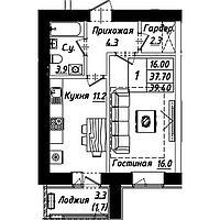 1 комнатная квартира в ЖК Рио-де-Жанейро 39.3 м²