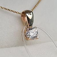 Золотой кулон с бриллиантом 0.25Ct VS2/G, EX-Cut  цепочка 45cм