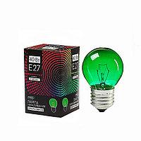 Лампа накаливания Luazon Lighthing E27, 40W, для белт лайта, зеленая, 220 В
