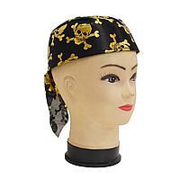 Карнавальная бандана пирата, шляпа пирата с черепом (черно-золотая, р-р 56-58)