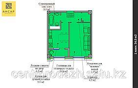 1 комнатная квартира в ЖК Ансар 34.5 м²