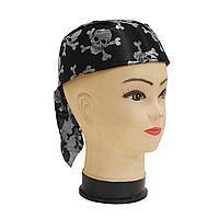 Карнавальная бандана пирата, шляпа пирата с черепом (черно-серебристая, р-р 56-58)