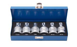 "ROCKFORCE Набор головок Torx, Spline с отверстием 3/4"" 6 предметов(Т70, Т80, Т90, Т100, М16, М18), в кейсе"